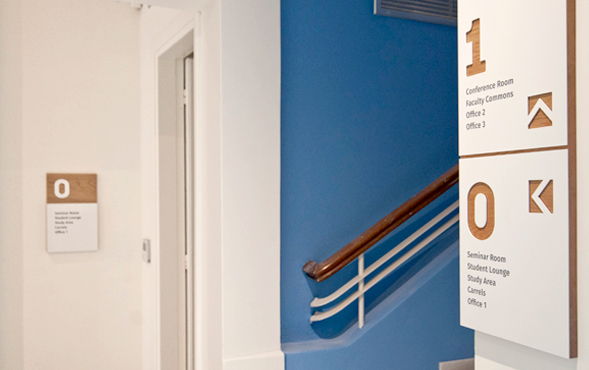 Signage and environmental branding for Princeton's Athens Center